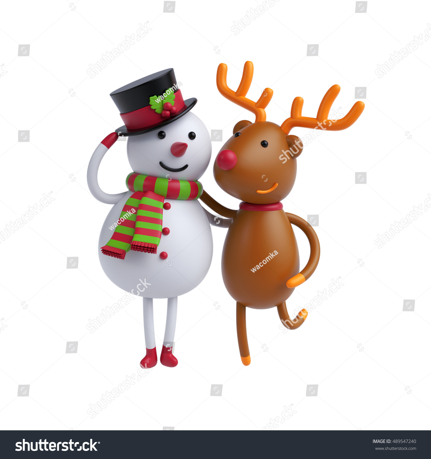 3 D Render Digital Illustration Snowman Deer Stock Illustration
