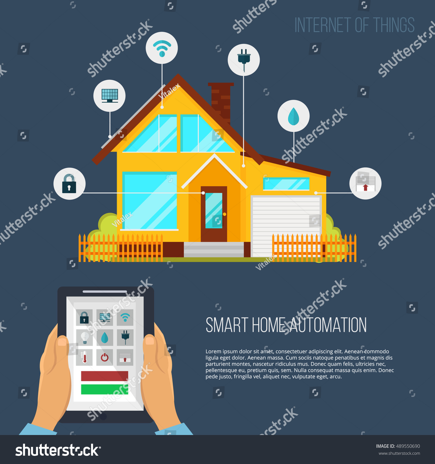 Smart Home Automation System Smart House Stock Vector 489550690