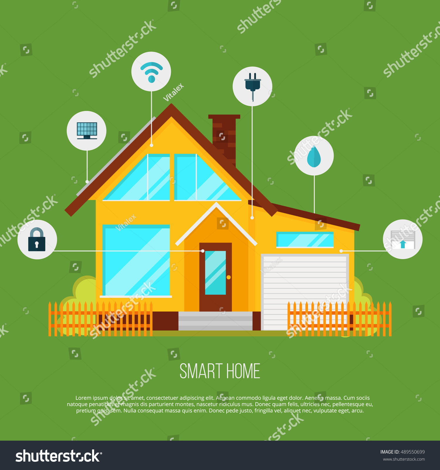 Smart Home Automation System Smart House Stock Vector 489550699