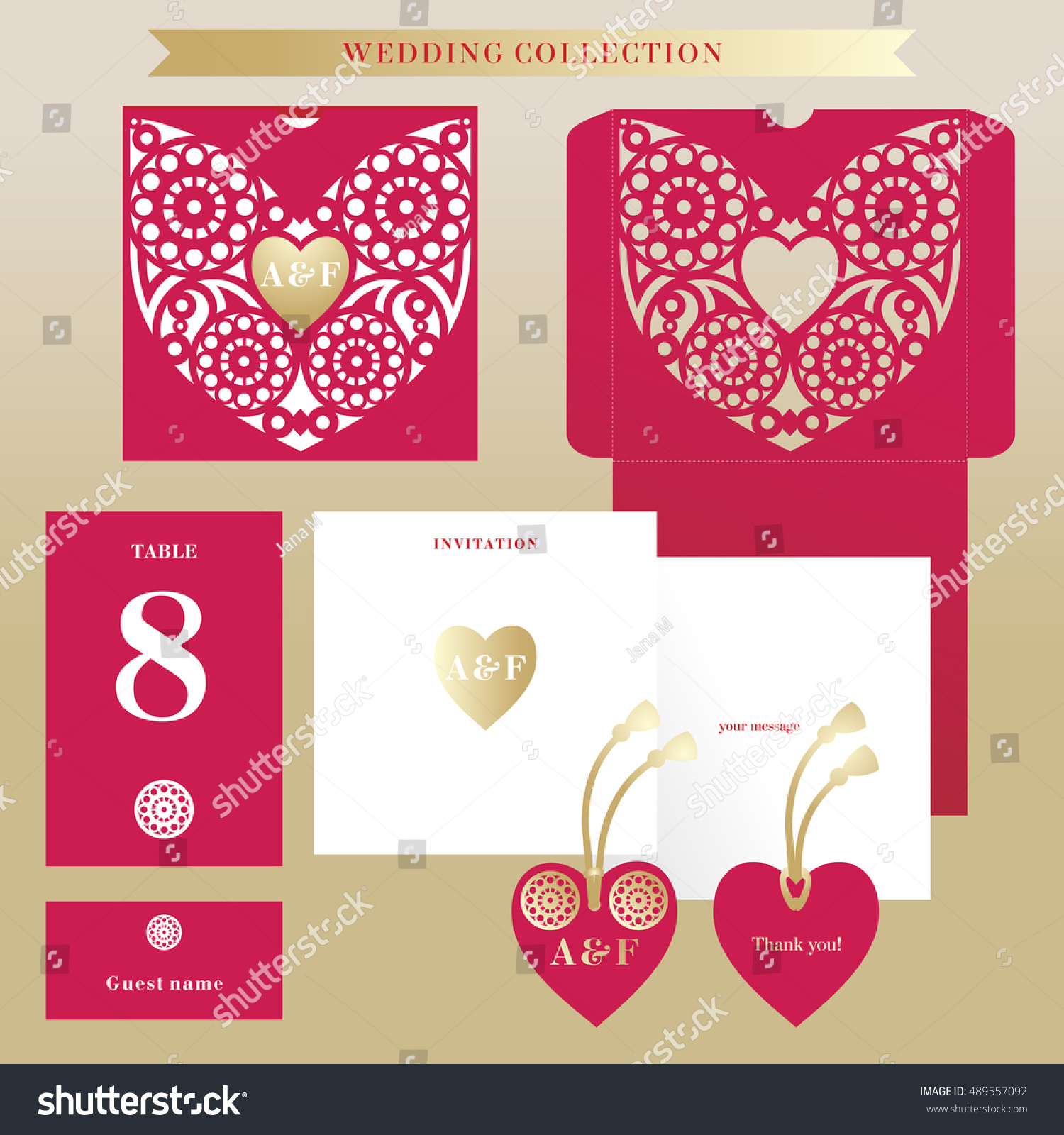 Wedding Collection Red Lace Heart Golden Stock Vector (Royalty Free ...