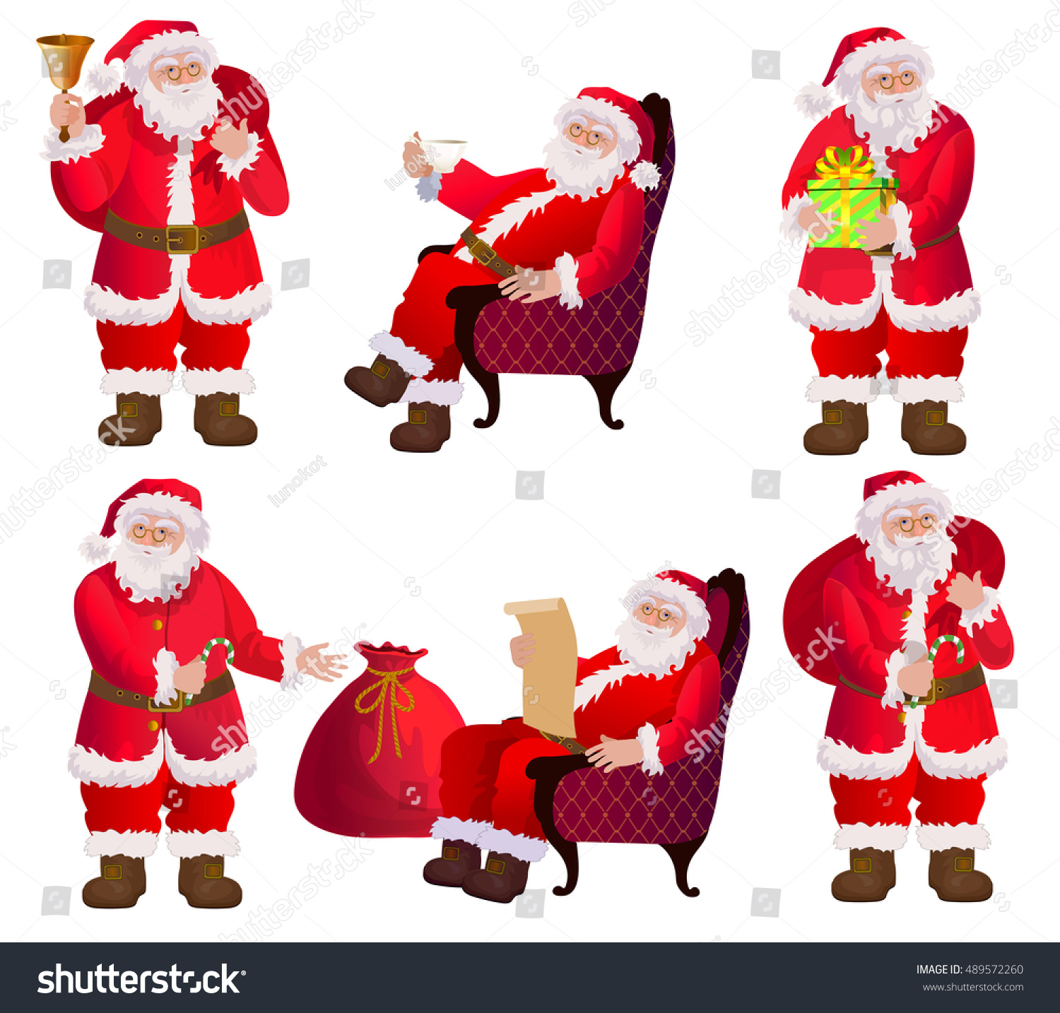 Christmas Set Santa Clauses Different Poses Stock Vector (Royalty ...