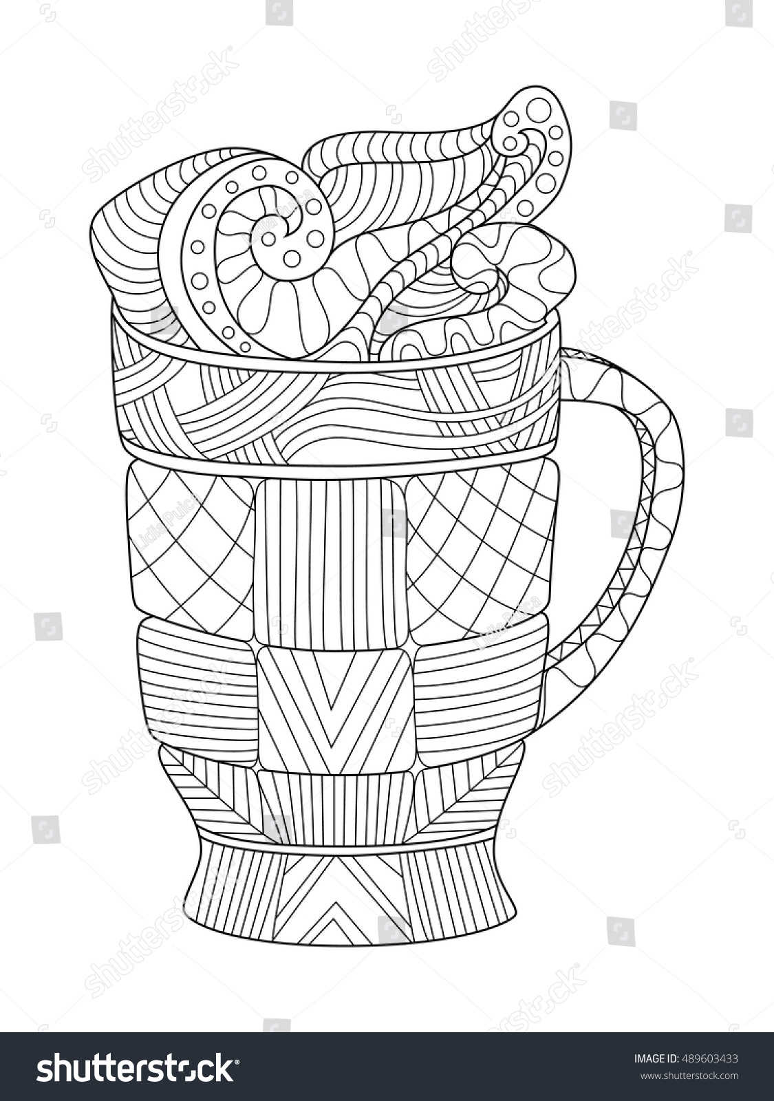 Pint Of Beer Coloring Page For Adults Vector