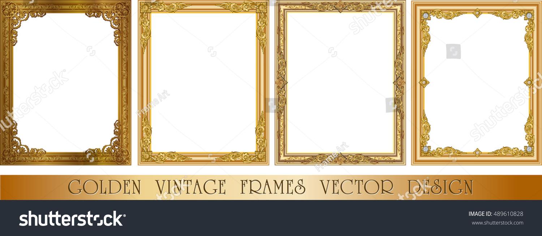Set decorative vintage frames borders setgold stock vector set of decorative vintage frames and borders setgold photo frame with corner thailand line jeuxipadfo Gallery