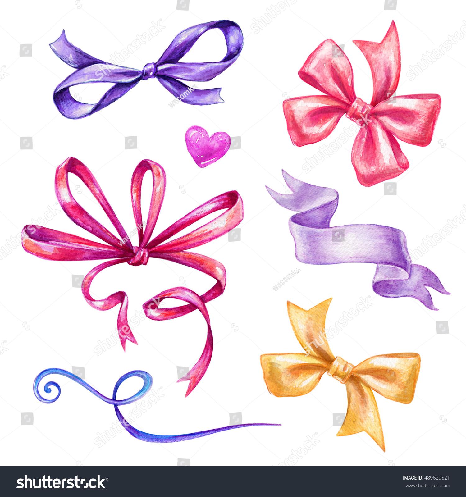 Watercolor Holiday Ribbon Bow Illustration Festive Stock