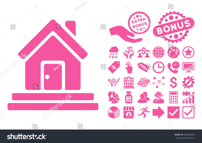 House Front Door Pictograph Bonus Design Stock Vector 489634579 ...