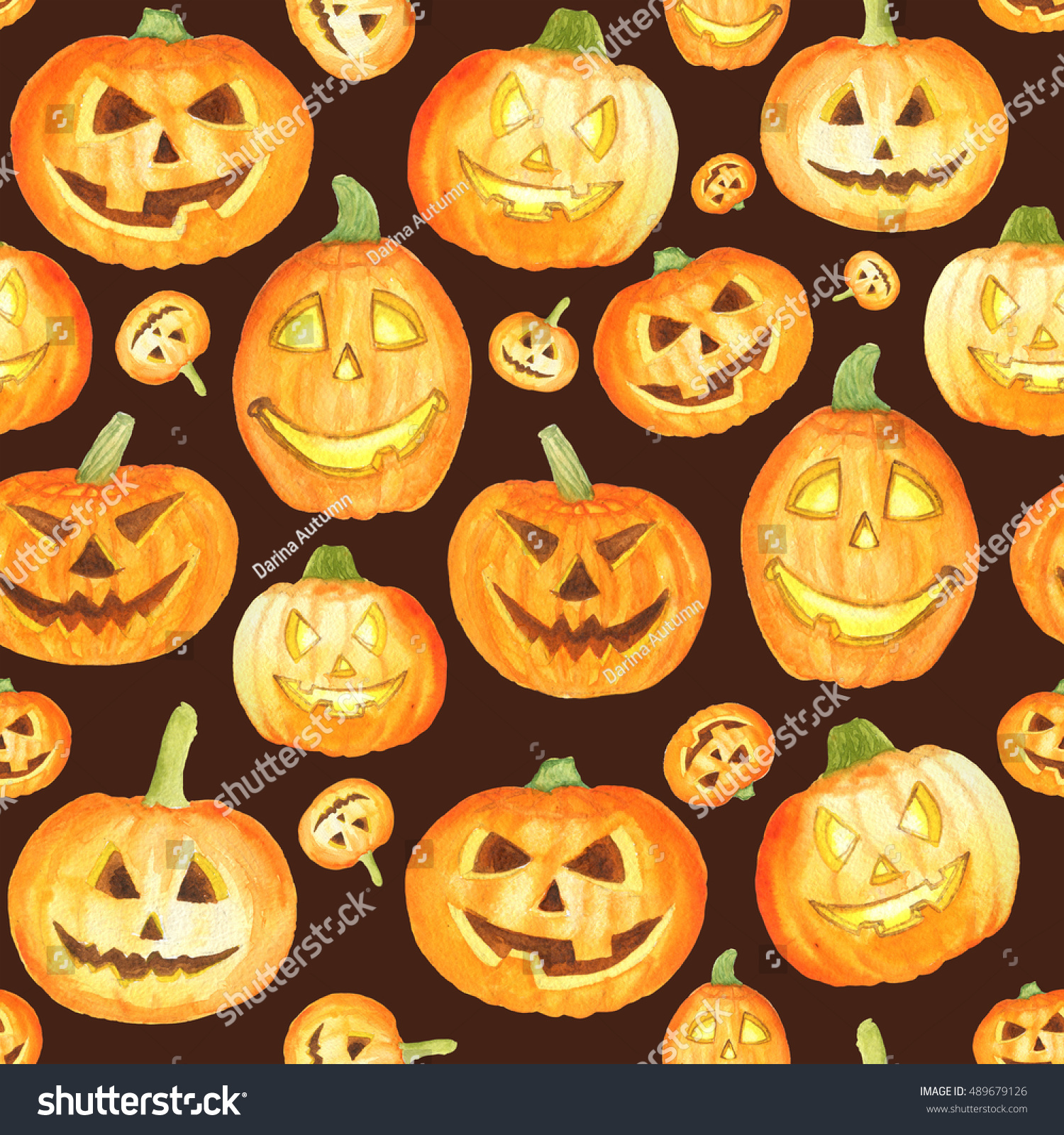 Watercolor halloween pattern with pumpkins for wrapping paper cards