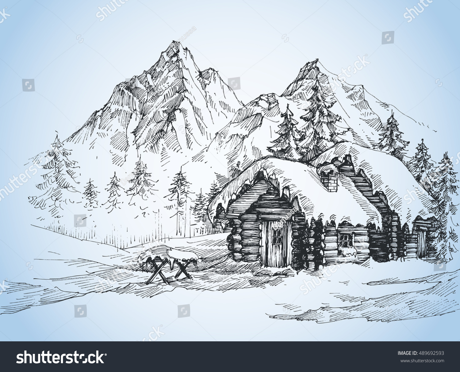 Christmas Background House In The Snow Landscape