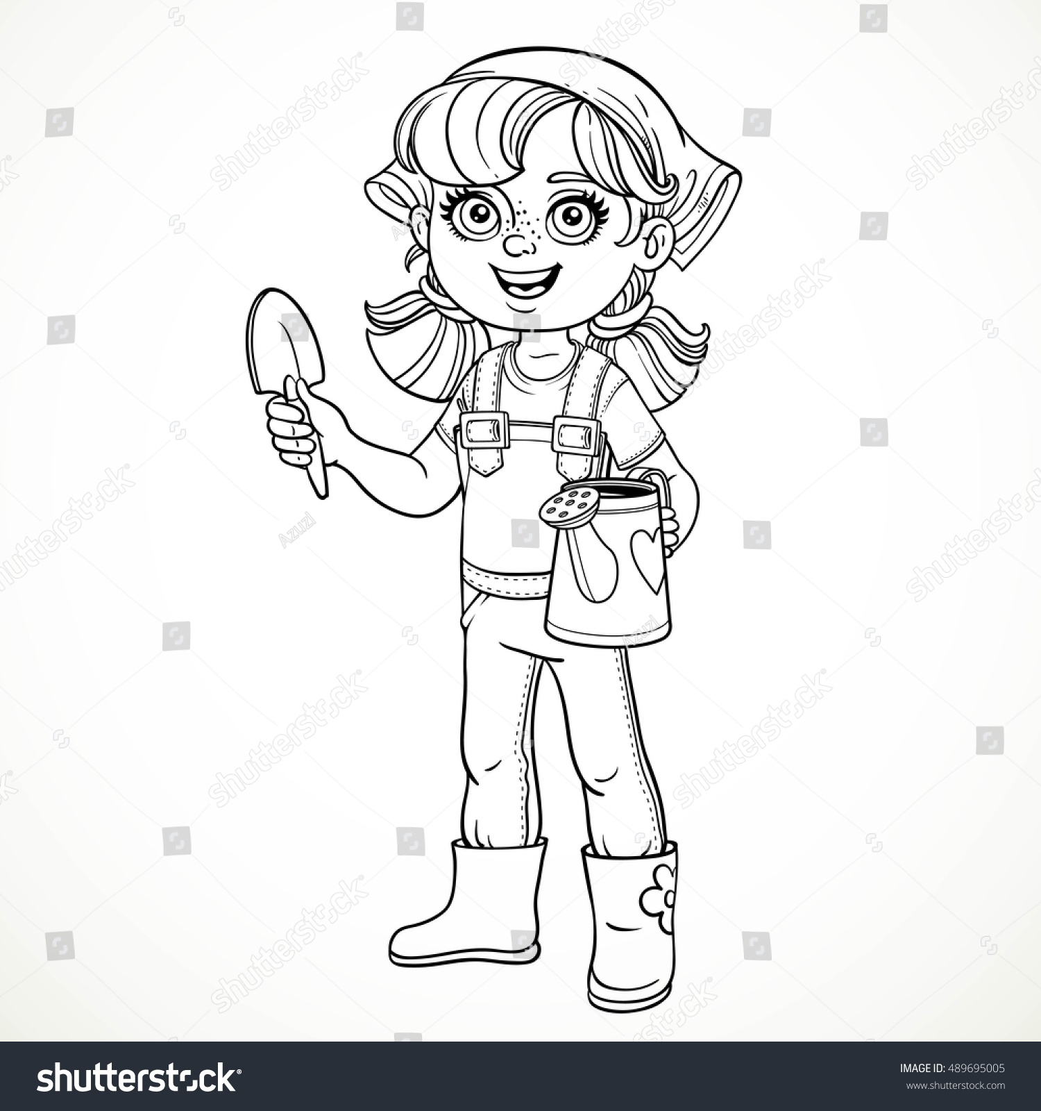 Line Drawing Little Girl : Cute little girl jeans overalls rubber stock vector