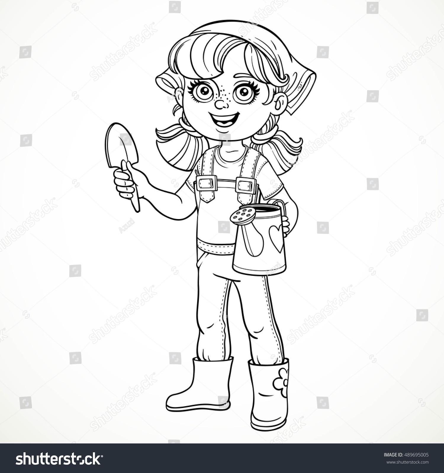 Line Drawing Little Girl : Cute little girl jeans overalls rubber stock vector