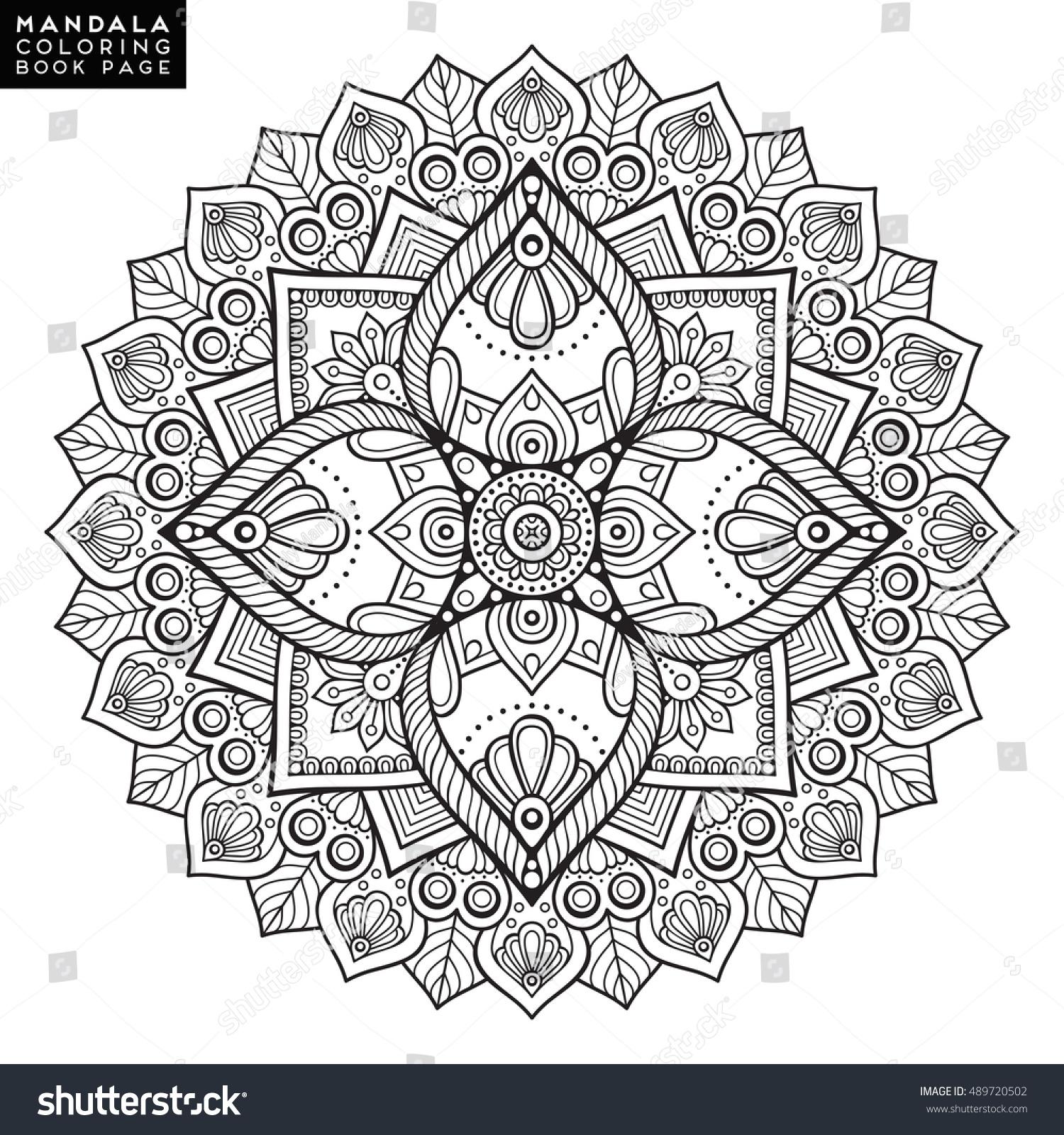 Flower Mandala Vintage Decorative Elements Oriental Stock Vector 489720502