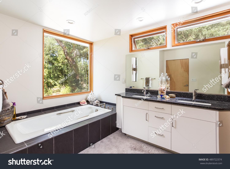 Master Bathroom Large Open Windows Large Stock Photo (Royalty Free ...