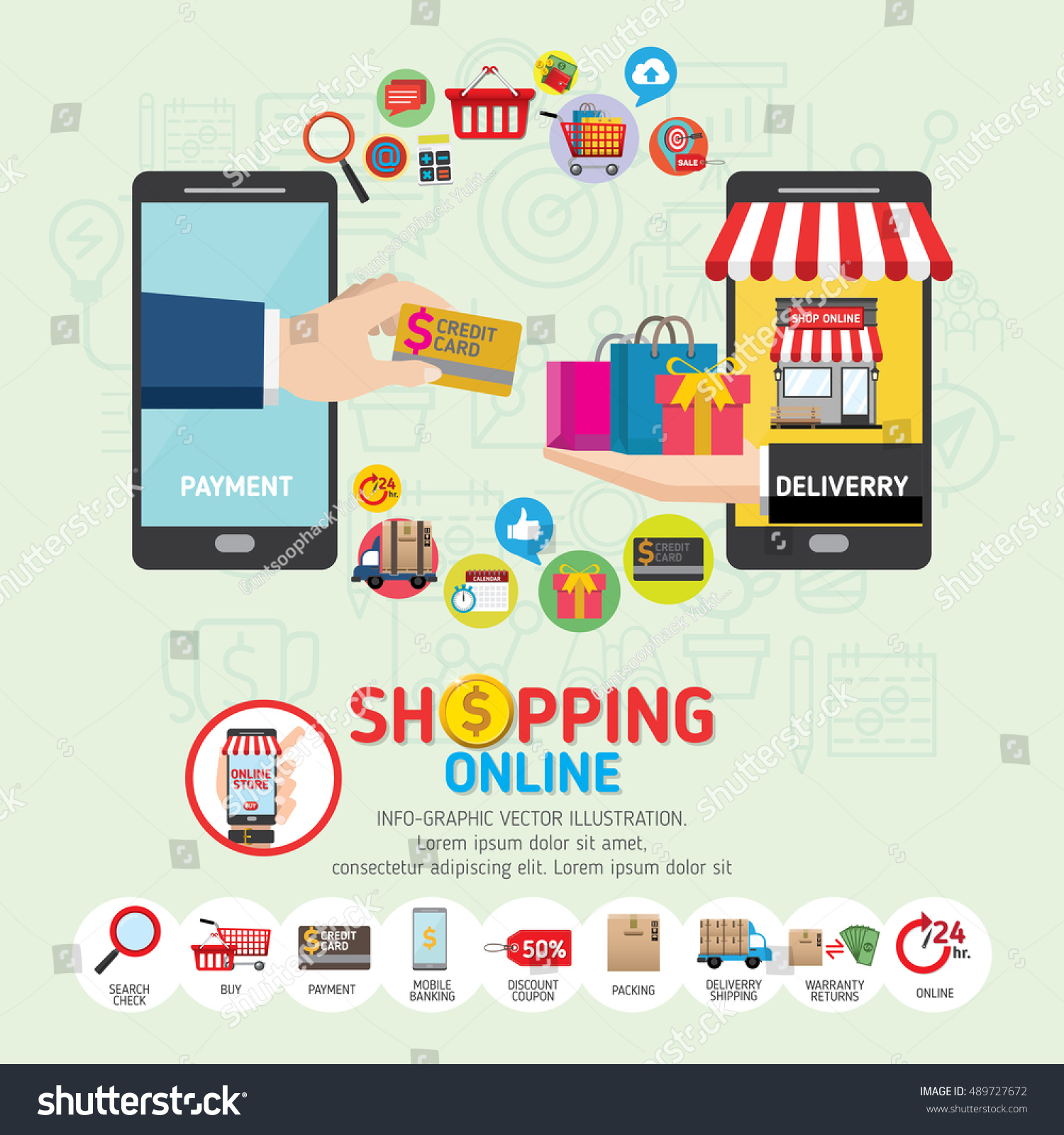 Online shopping concept mobile payments vector stock for Shopping mobili online