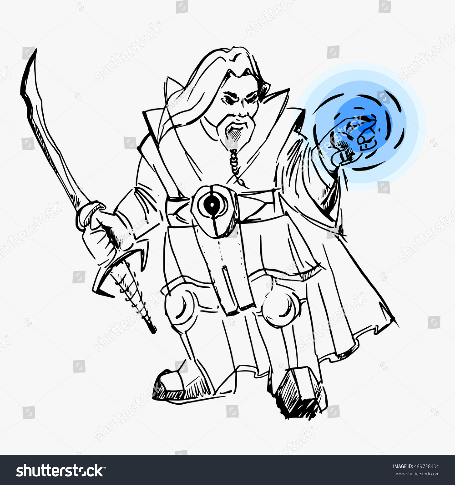 Vector Drawing Lines Game : Dwarf warrior magician line drawing sword stock vector