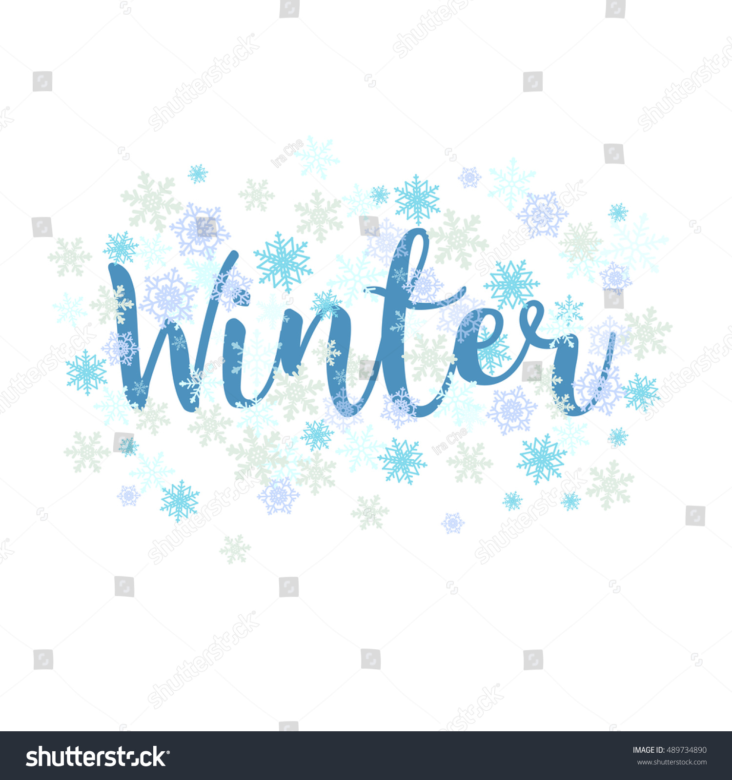 Winter Calligraphy Text Snowflakes Lettering Seasonal
