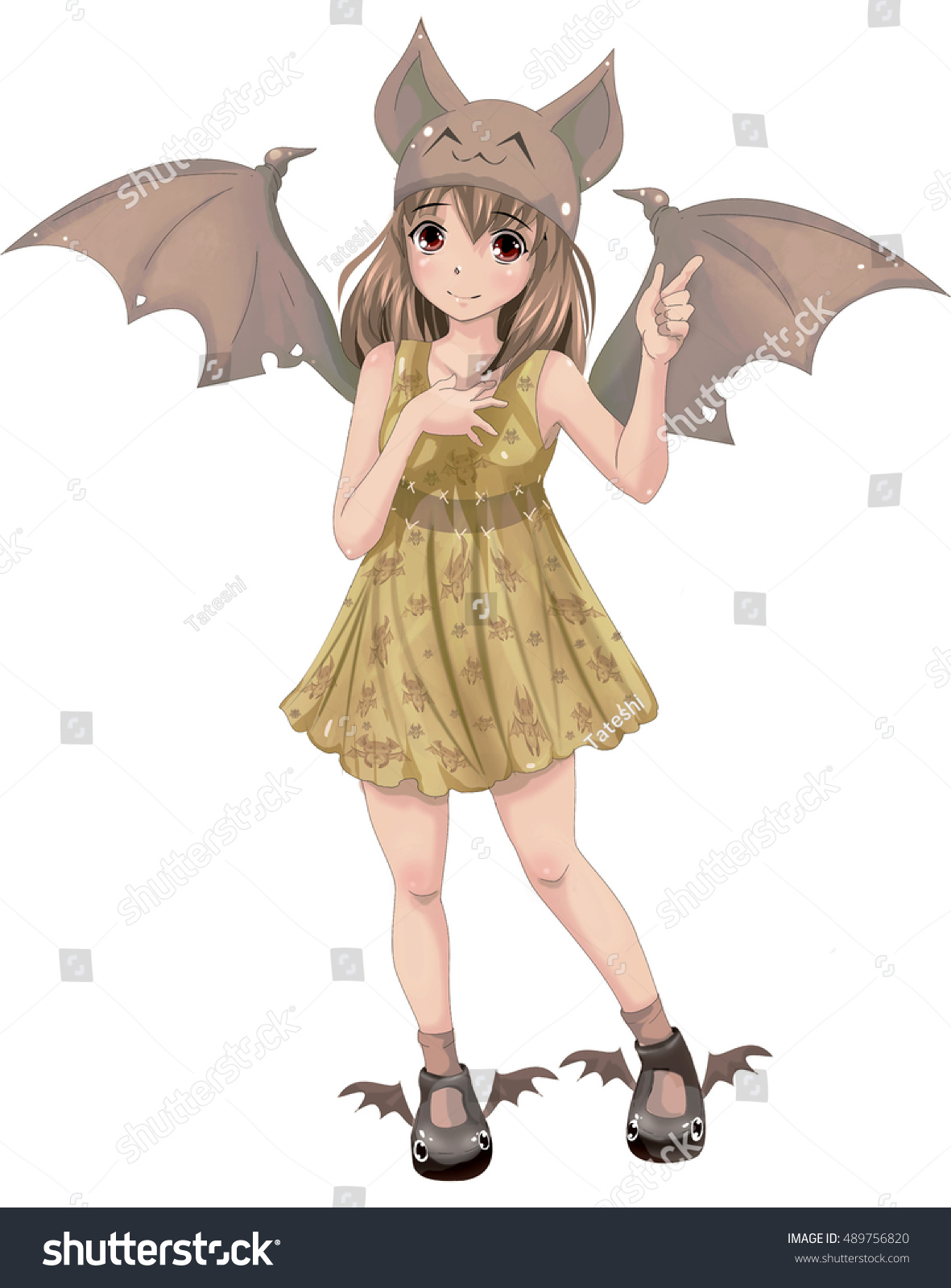 The cute little anime girl dressed in costume of the bat isolated on white
