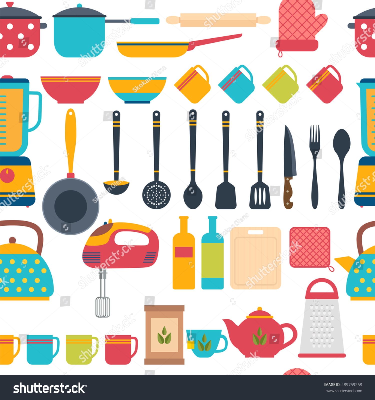 Kitchen Utensils Background: Cooking Utensils Background Seamless Pattern Kitchen Stock