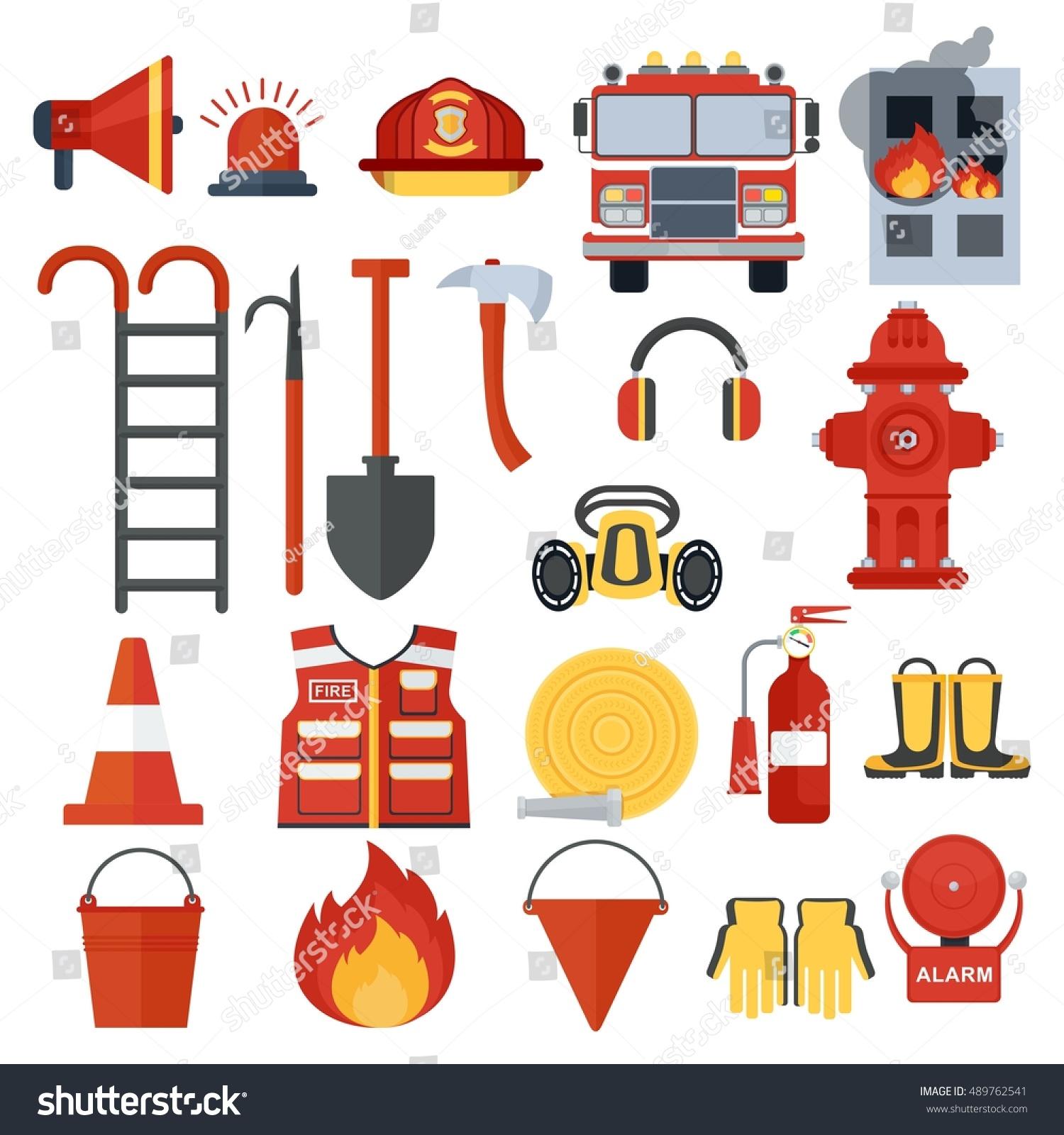 Decorative Fire Extinguisher Set Fire Equipment Vector Fire Man Stock Vector 489762541