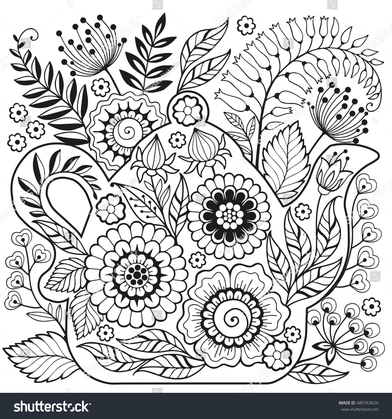 vector coloring page meditation relax stock vector 489763624