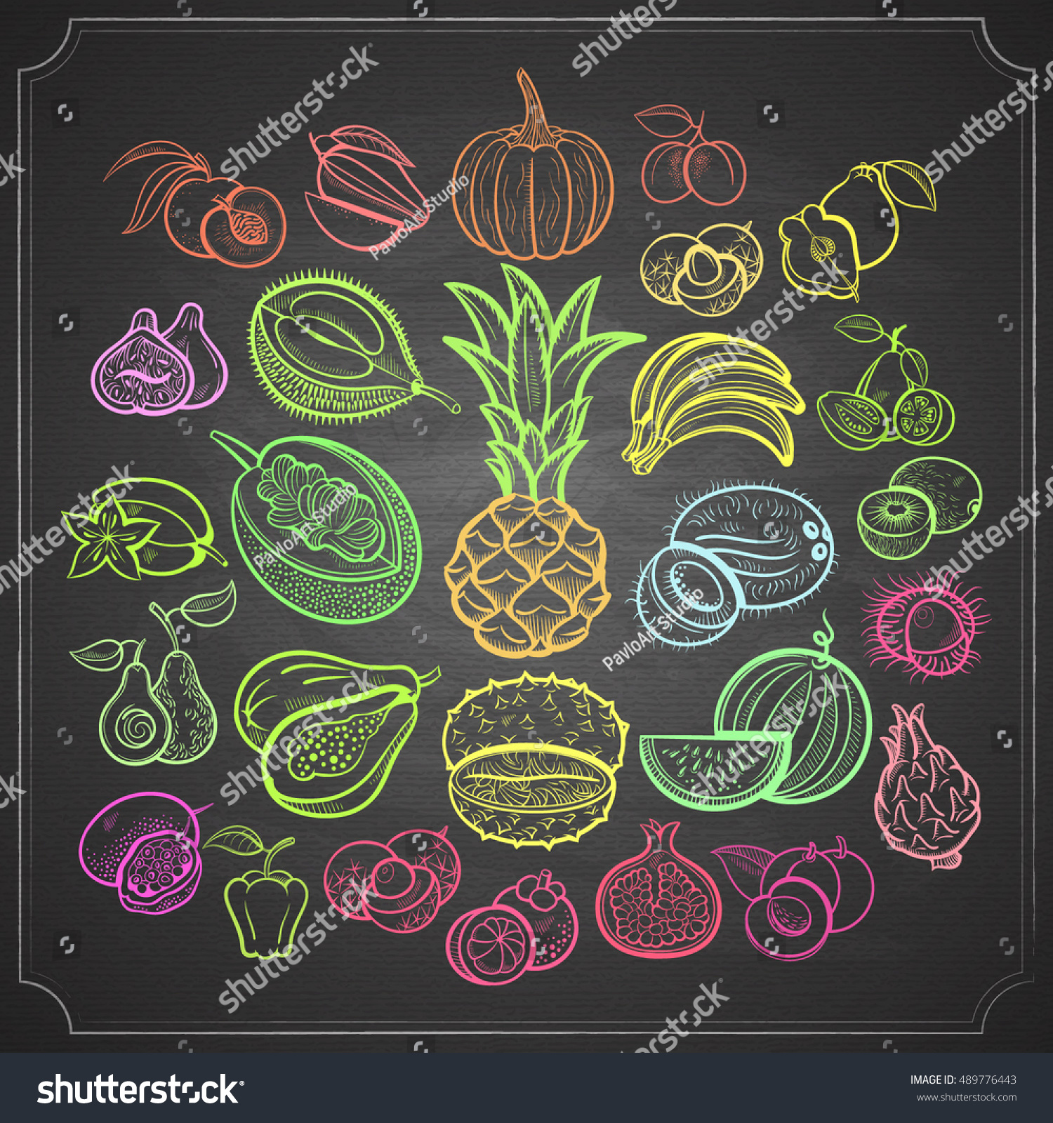 Big Fruits Collection Pineapple Stock Photo 489776443