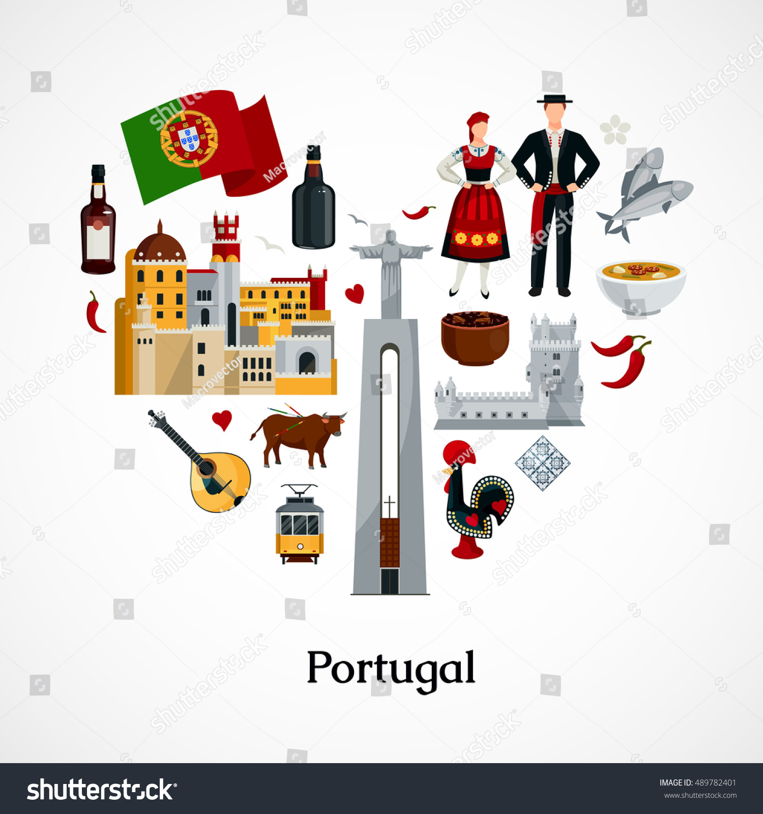 Flat design icon form heart portugal stock vector for Cuisine design portugal