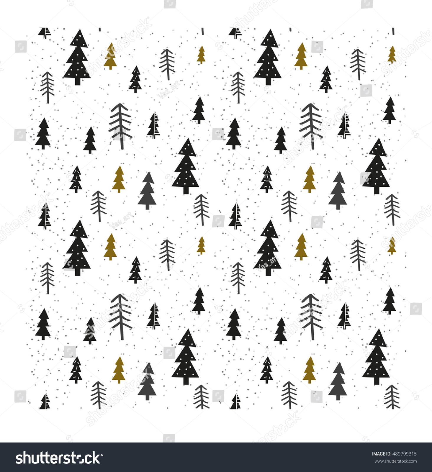 Seamless fir tree scandinavian pattern textile background wrapping - Winter Graphic Seamless Pattern With Christmas Trees Hand Drawn Vector Illustration Wrapping Paper Christmas
