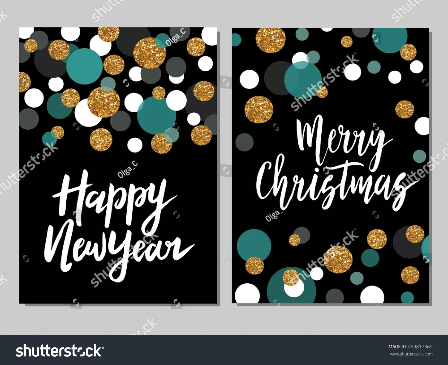 merry christmas and happy new year card template hand drawn lettering golden glitter shiny