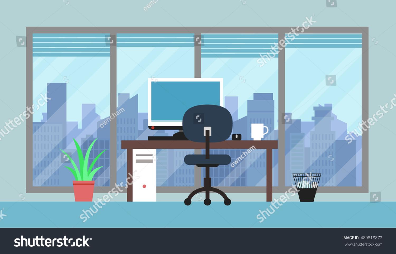Cityscape Office Room Stock Vector 489818872 Shutterstock