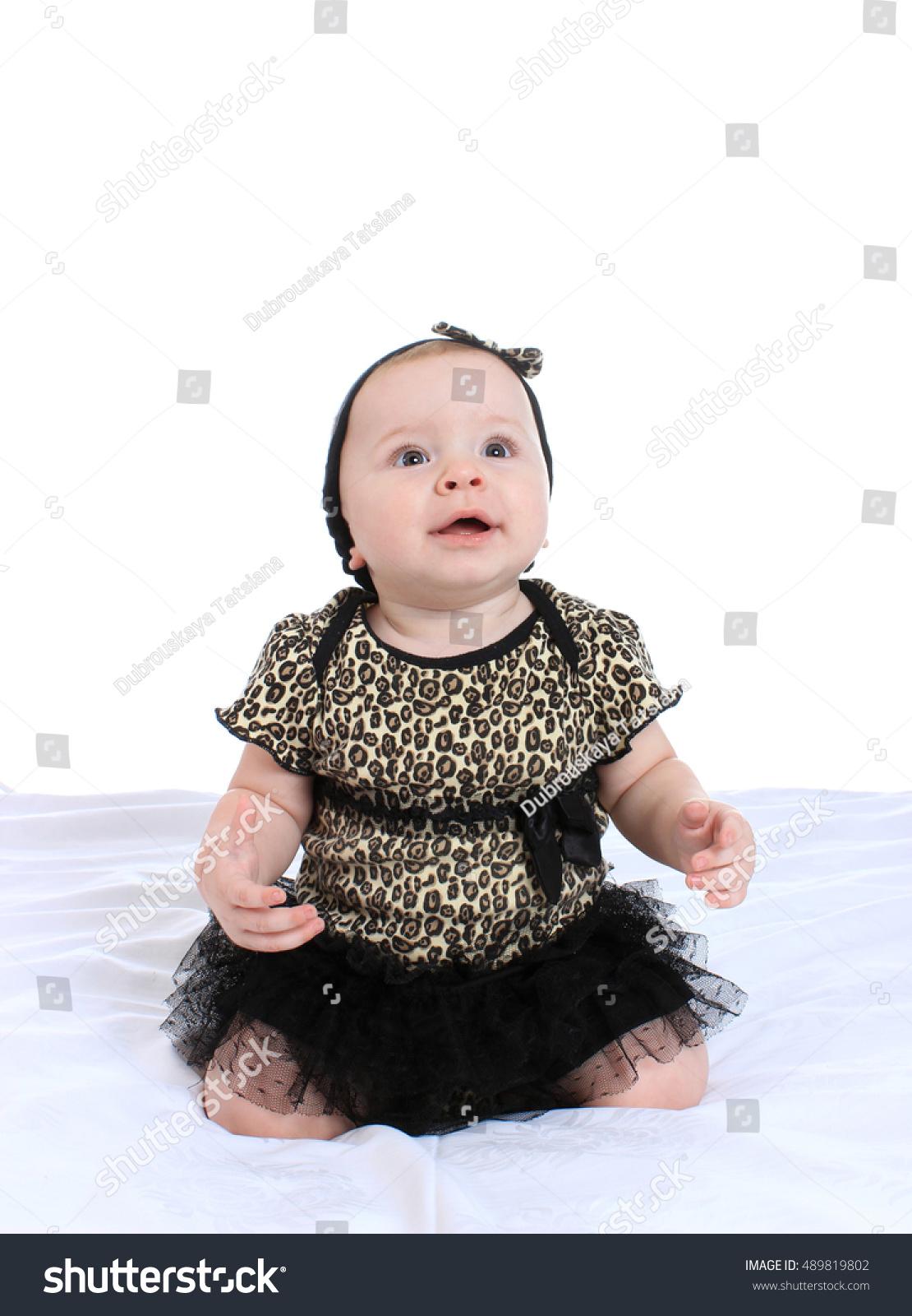 096ed2e47 Portrait Pretty Little Girl Black Dress Stock Photo (Edit Now ...