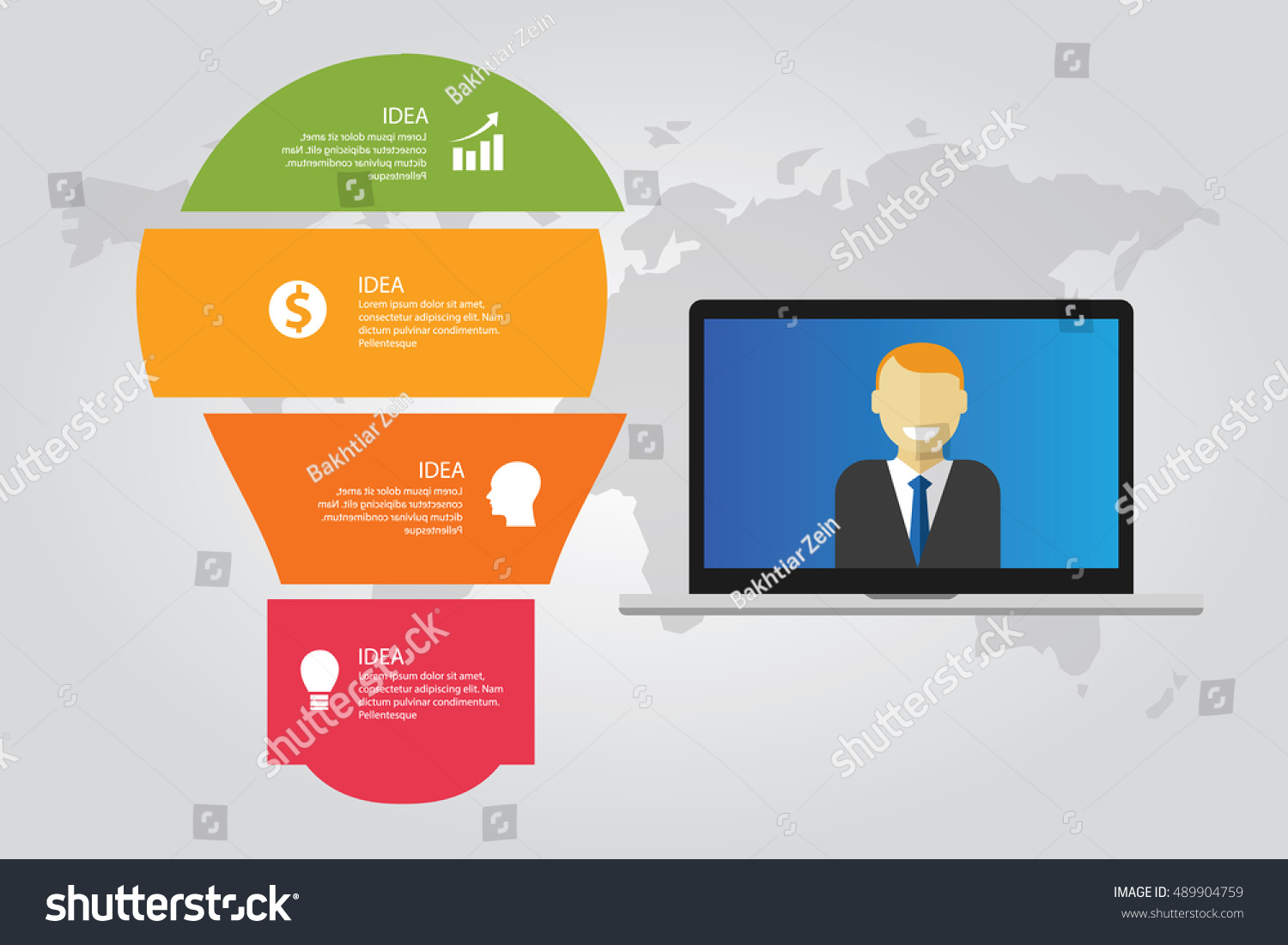 Information Technology Computer Laptop Infographic Map World Bulb Lamp News  Reporter