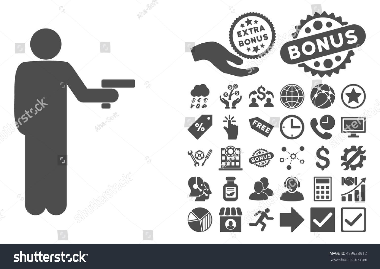 Robber Gun Pictograph Bonus Symbols Vector Stock Vector Royalty