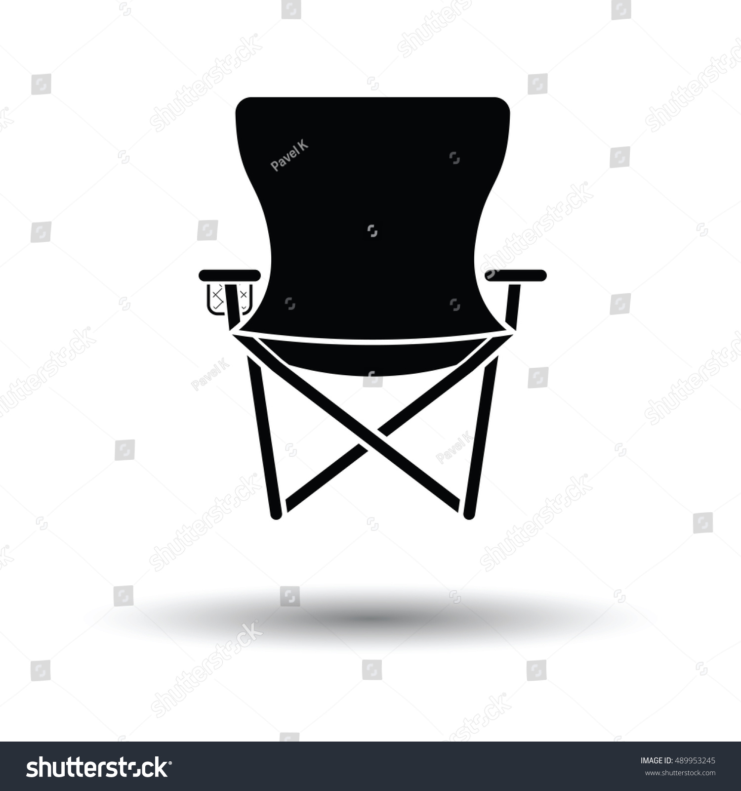 Icon Fishing Folding Chair White Background Stock Vector