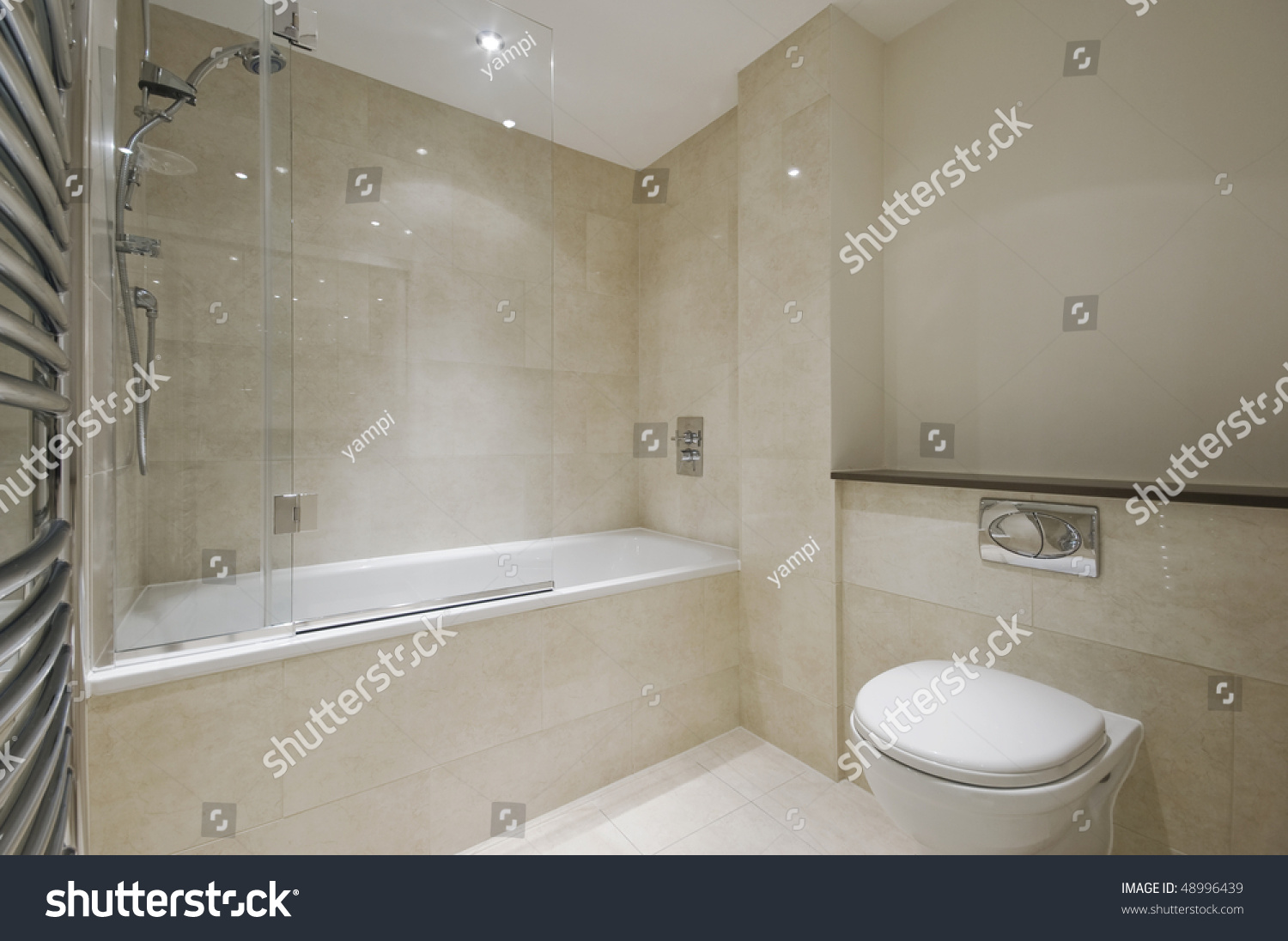 Modern Bathroom With Floor To Ceiling Marble Tiles Stock Photo 48996439 : Shutterstock