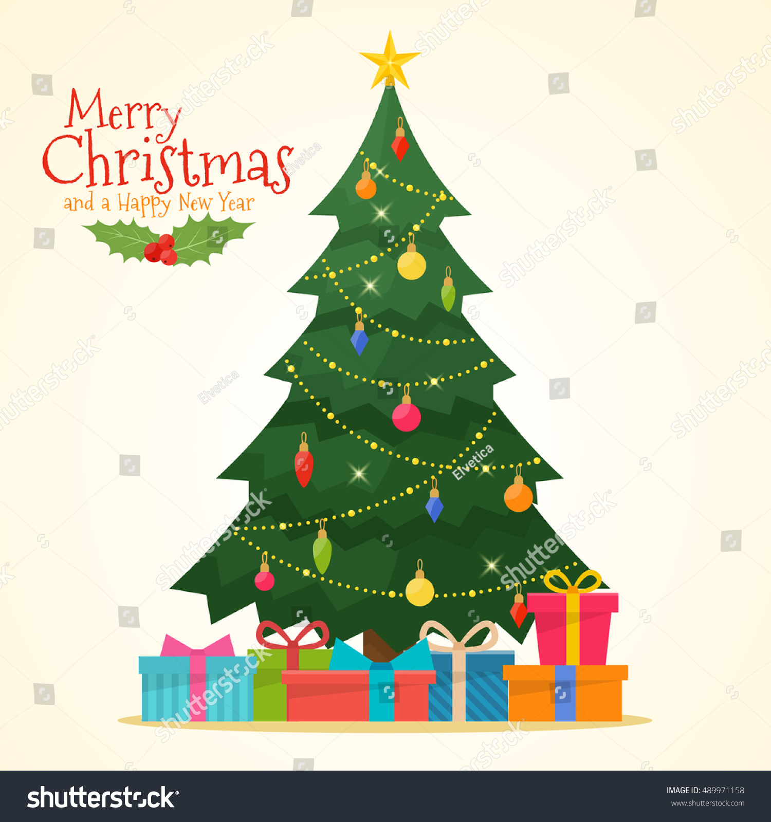Decorated christmas tree gift boxes star stock vector