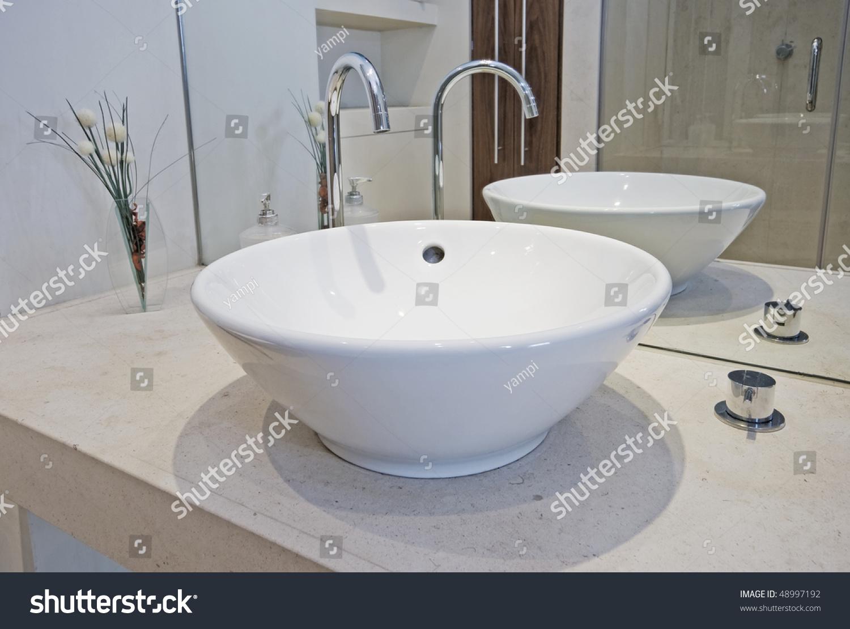 Modern Designer Hand Wash Basin Bowl Stock Photo 48997192