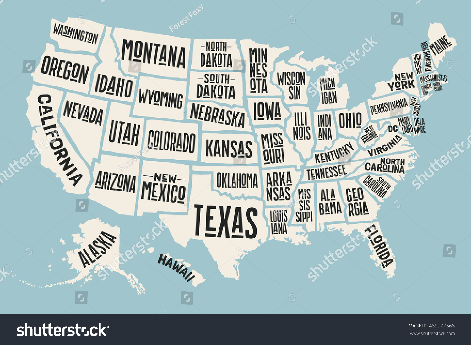 Poster Map United States America State Stock Vector - Poster map of usa