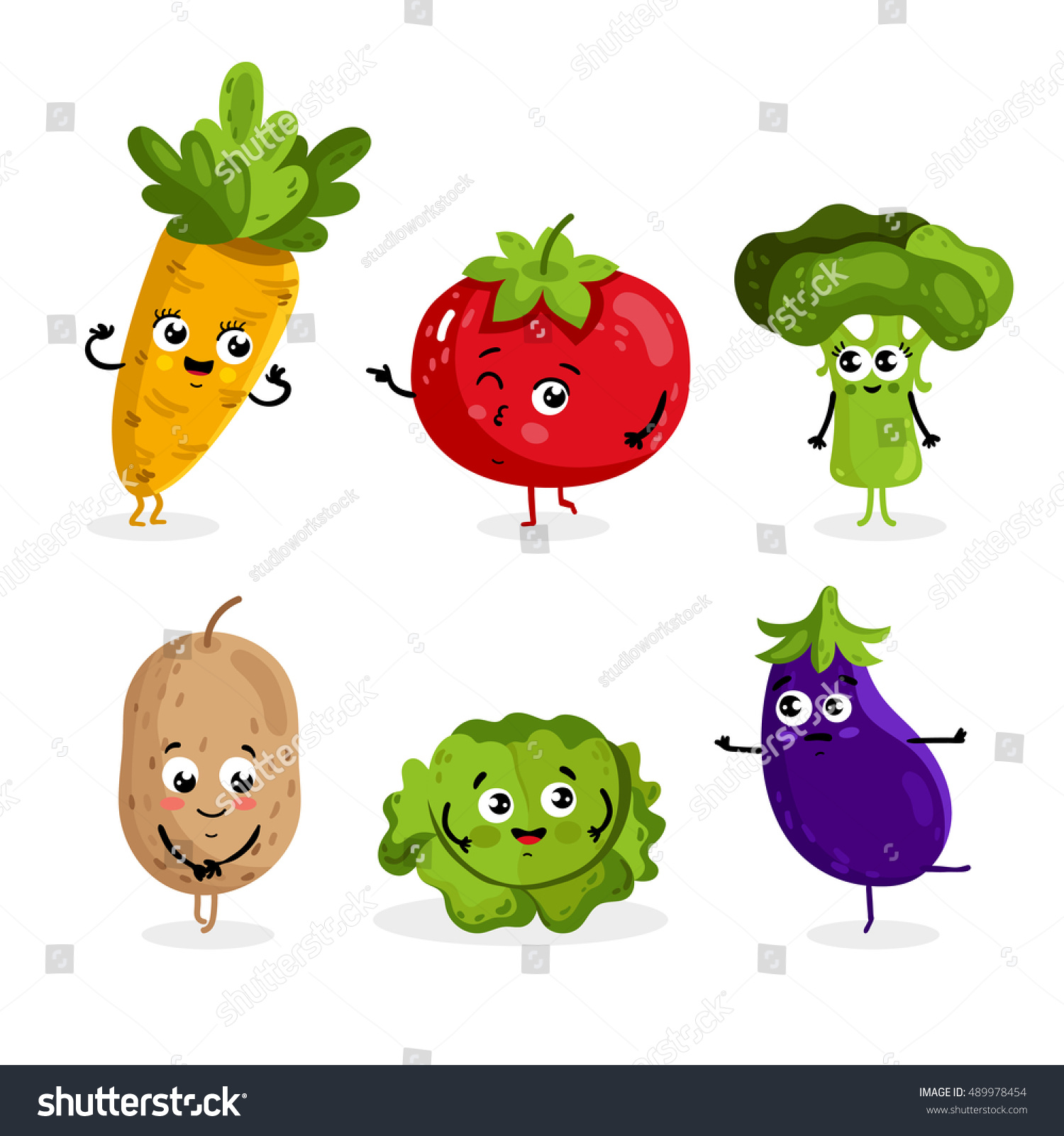 Cartoon vegetable cute characters face isolated on white background vector illustration. Funny vegetable face icon vector collection. Cartoon face food emoji. Vegetable emoticon. Funny food concept. #489978454