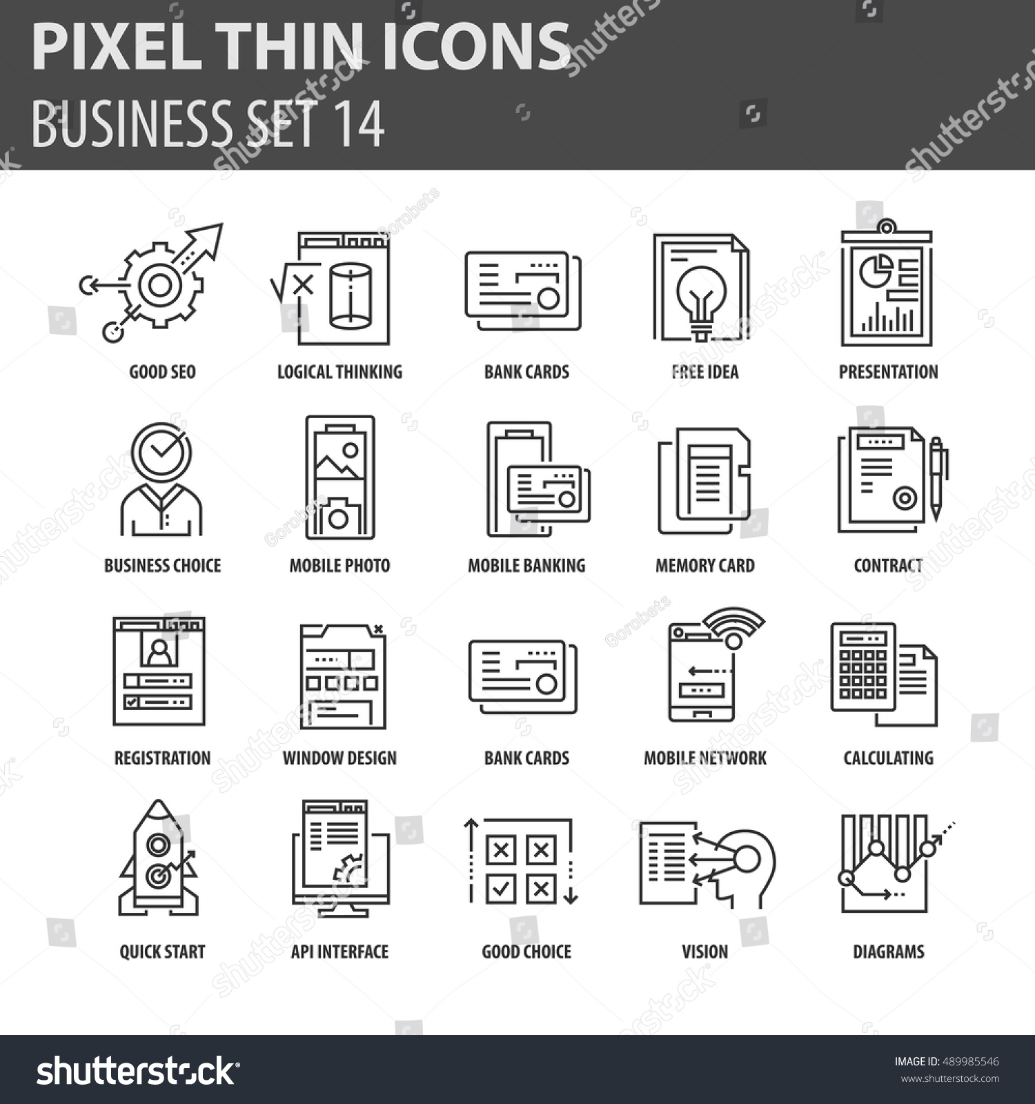Thin Line Flat Icons Pack Web Stock Vector Shutterstock