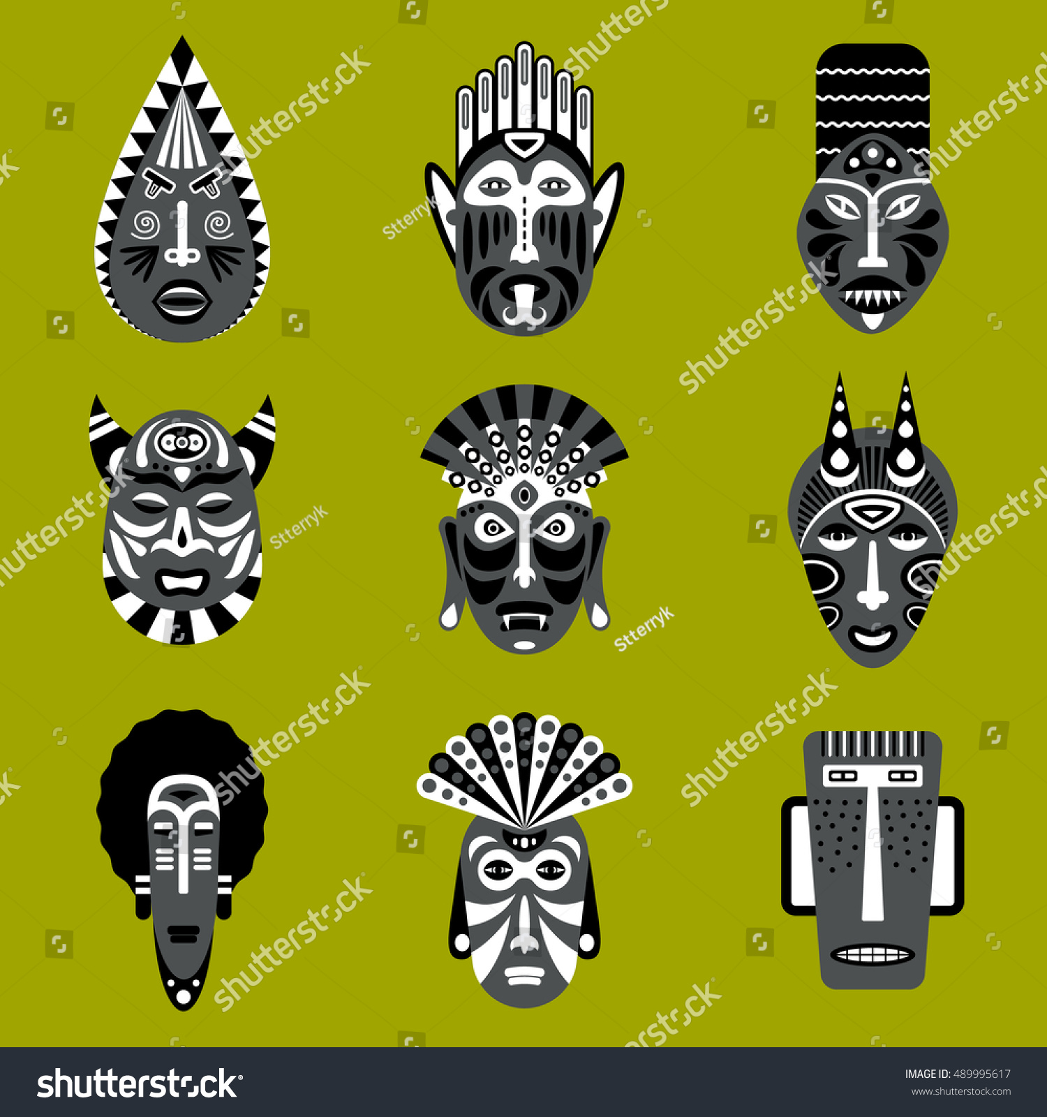 Set ethnic mask icons flat style stock vector 489995617 shutterstock set of ethnic mask icons in flat style eps10 vector collection of african tribal mask biocorpaavc Image collections