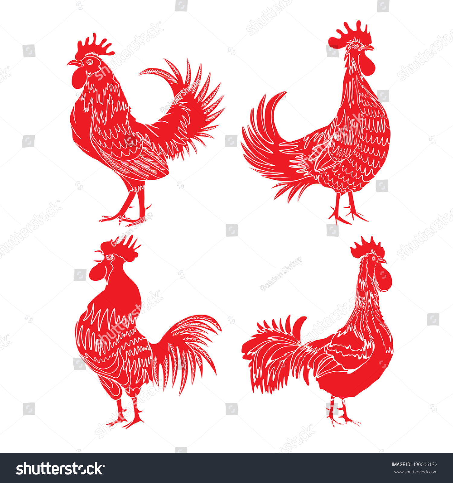 Set Roosters Animals Zodiac Symbols Chinese Stock Vector 490006132