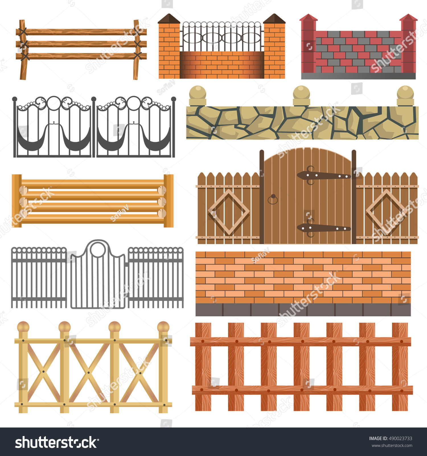 Fence Set Different Fence Design Wooden Stock Vector Royalty Free