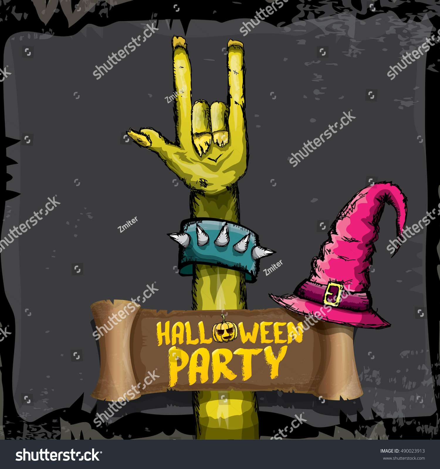 Halloween Background Rock N Roll Zombie Stock Vector 490023913 ...