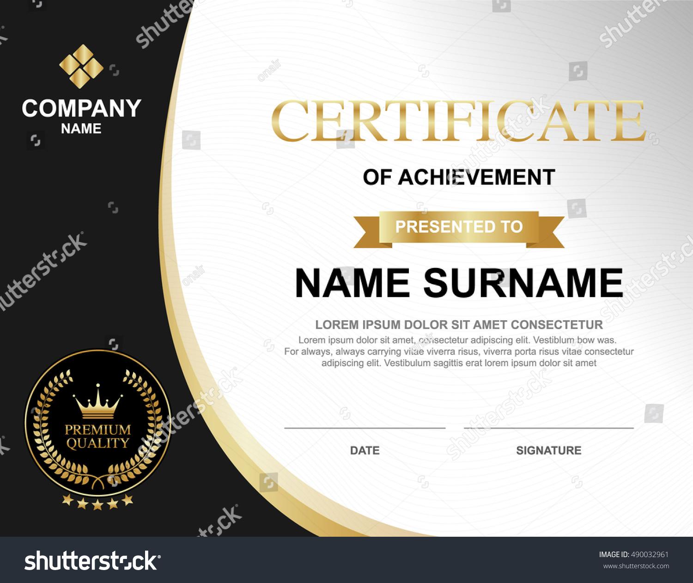 Vector Certificate Template Luxury Gold Black Stock Vektorgrafik