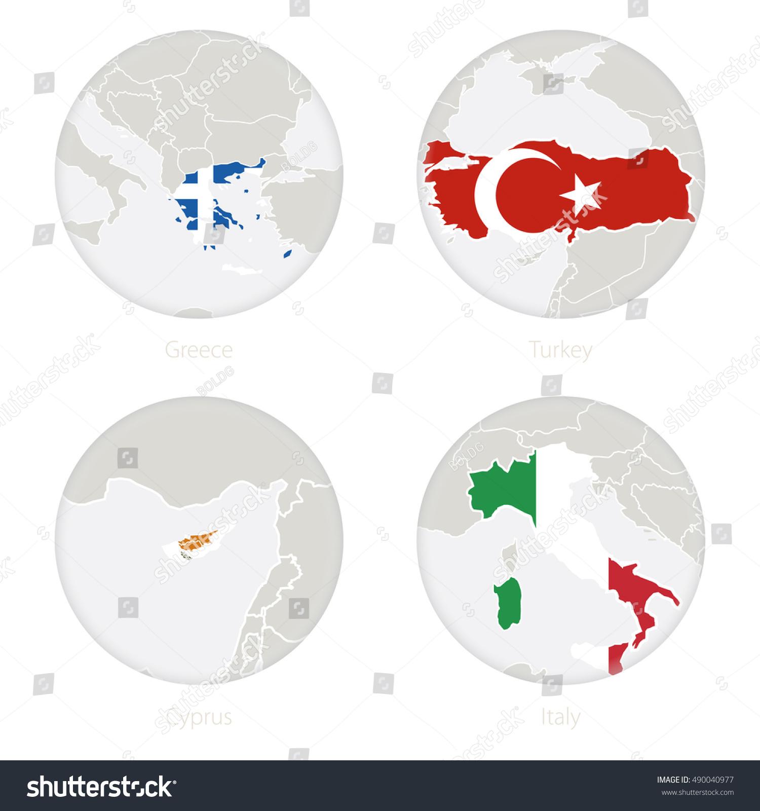 Greece Turkey Cyprus Italy Map Contour Stock Vector (Royalty Free ...