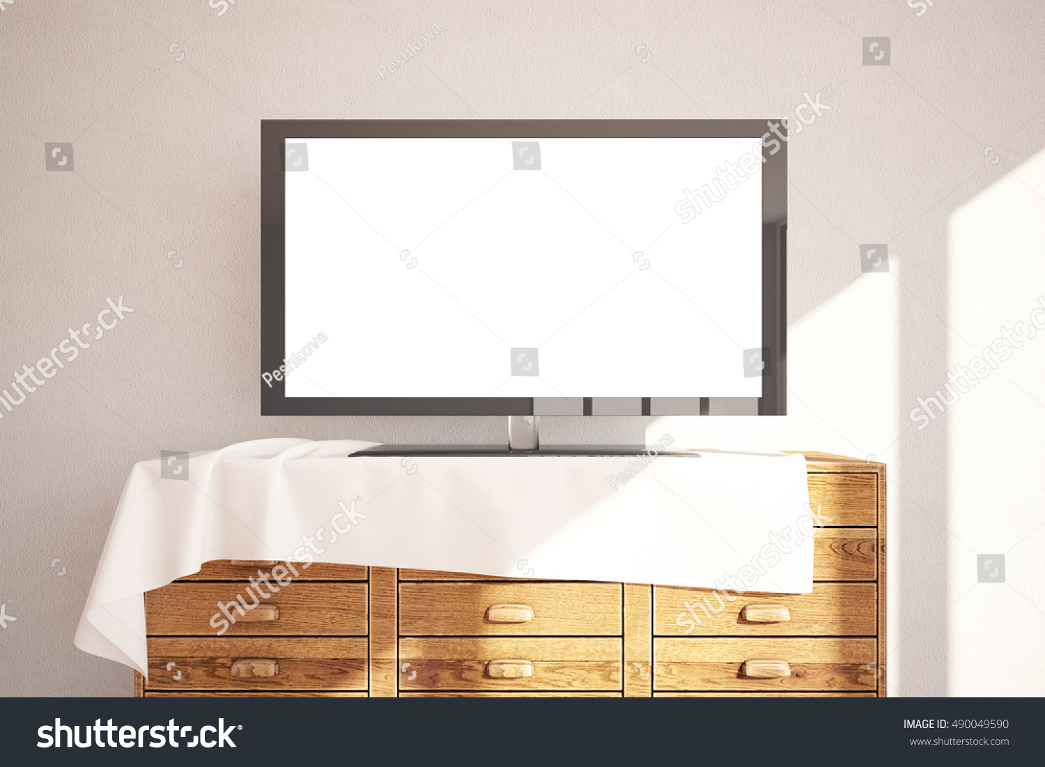 Plain wood table with hipster brick wall background stock photo - Front View Of Empty White Tv Screen Placed On Wooden Cupboard With Cloth On Concrete Wall