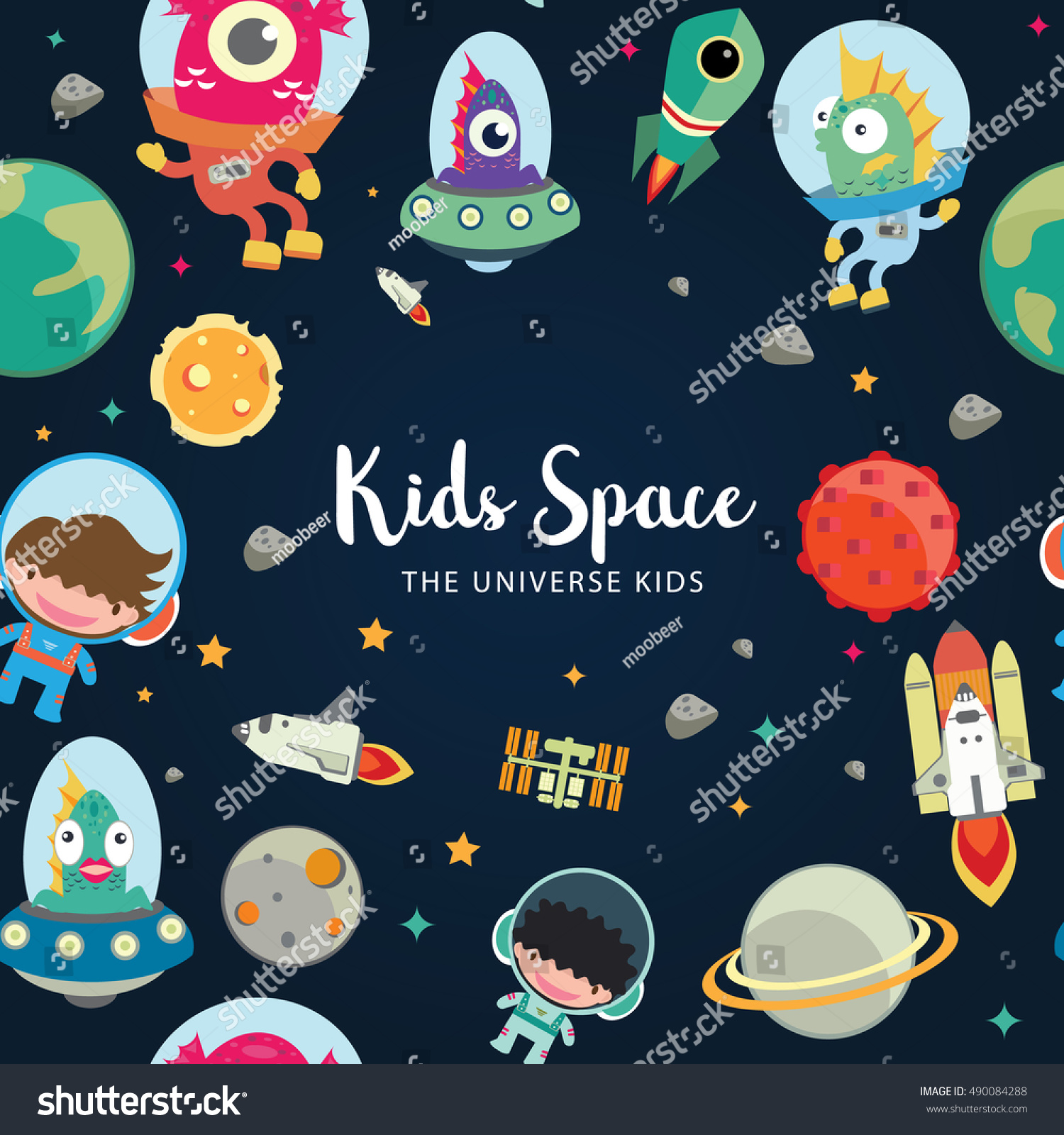 Kids space seamless pattern