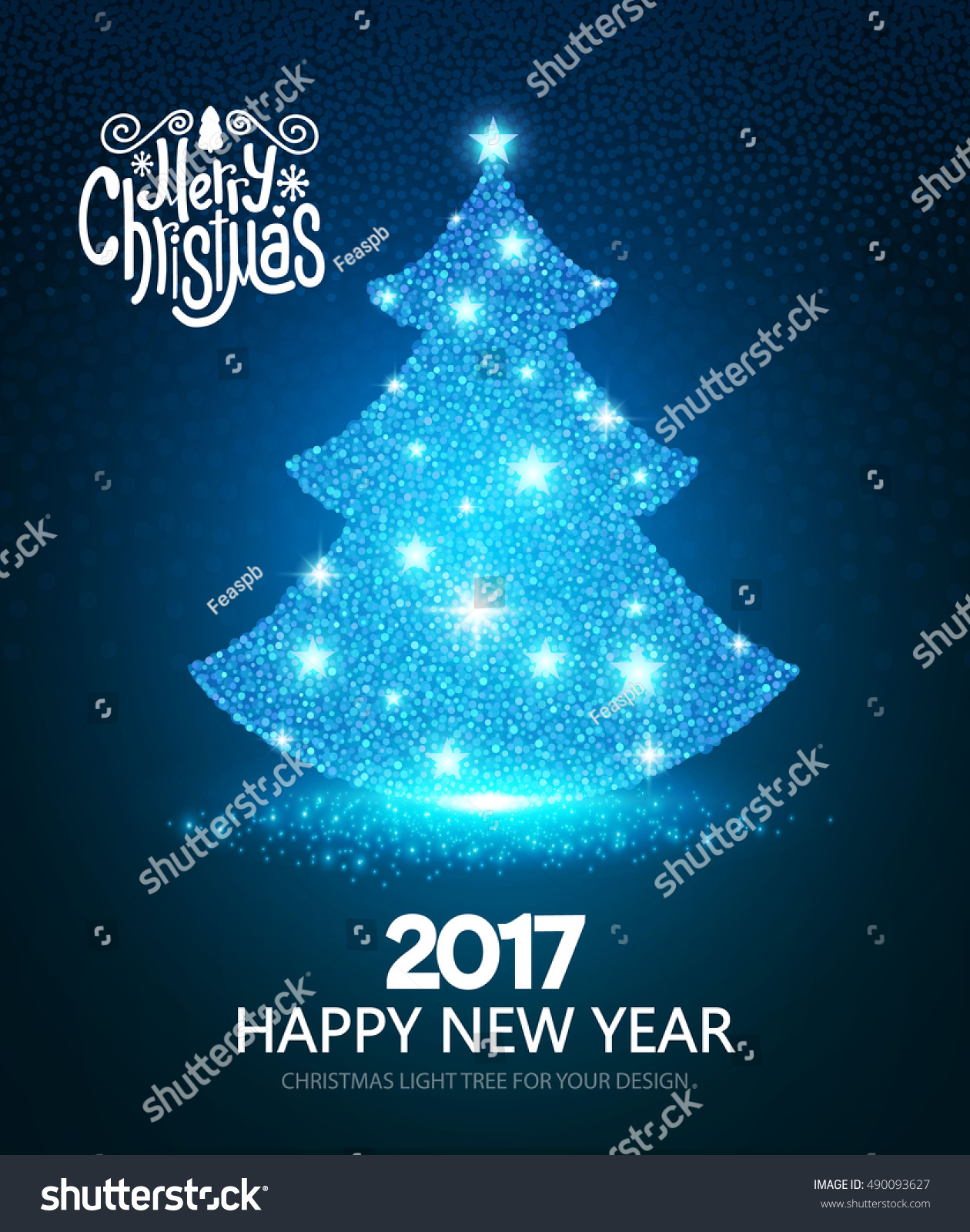 Happy New 2017 Year Christmas Greeting Stock Vector Royalty Free