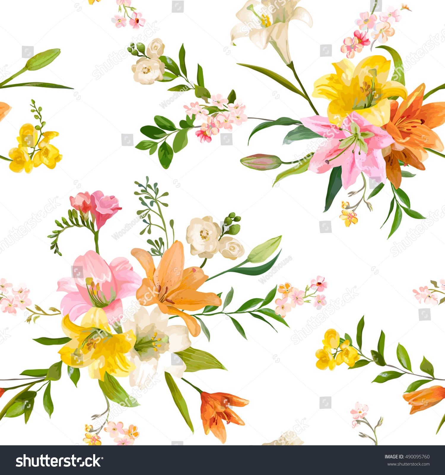 Vintage spring flowers backgrounds seamless floral stock vector hd vintage spring flowers backgrounds seamless floral lily pattern in vector mightylinksfo