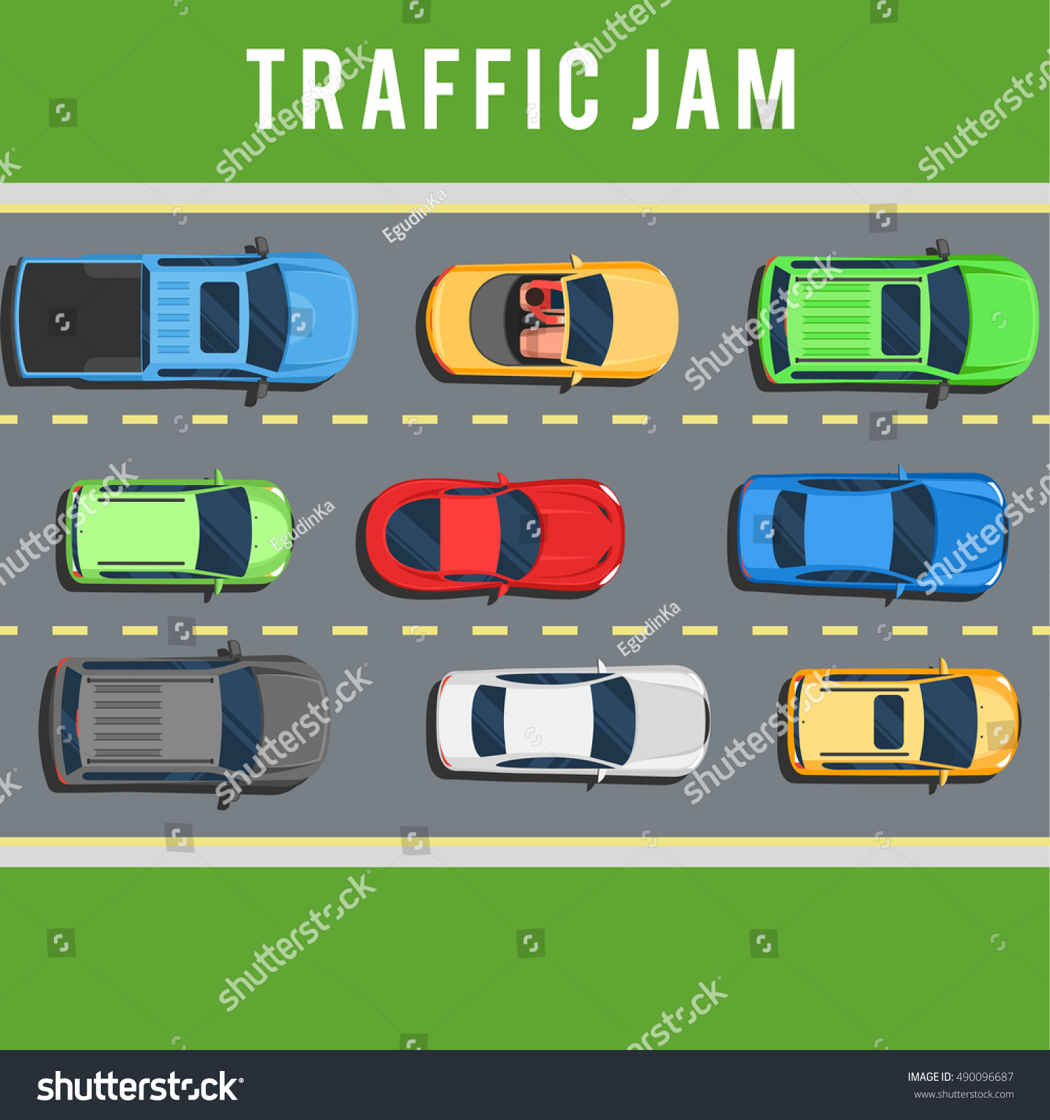 Traffic Jam Transport Collapse On Road Stock Vector 490096687