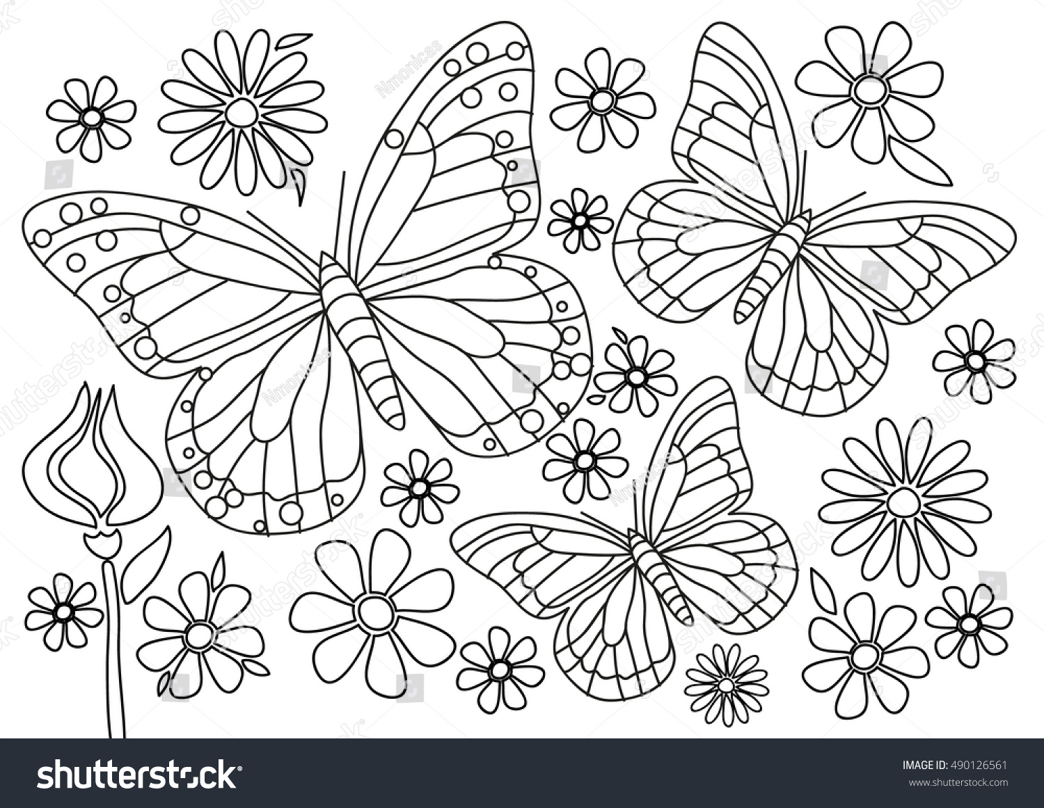 Coloring Page Butterflies Flowers Stock Vector 490126561 - Shutterstock