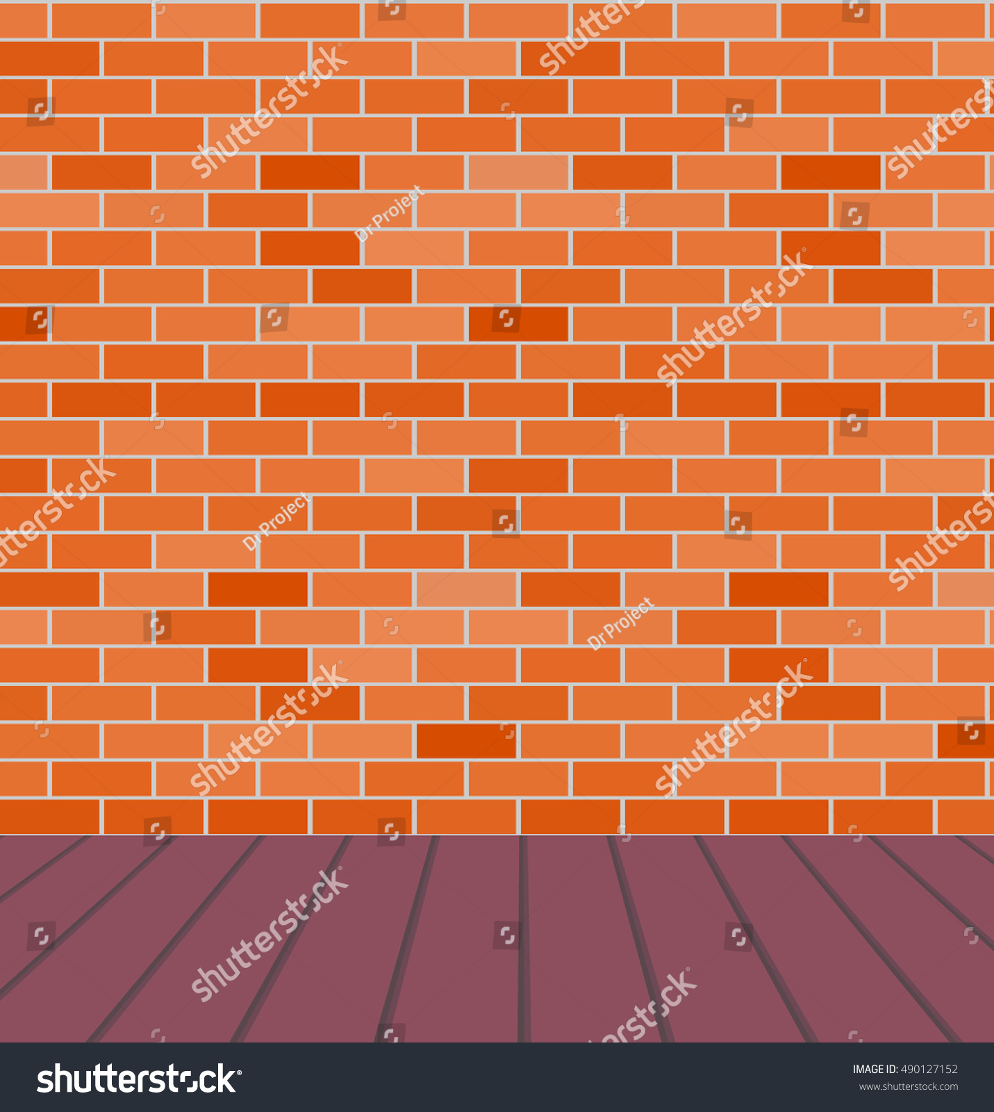 empty room with orangebrown brick wall and wood floor vector background